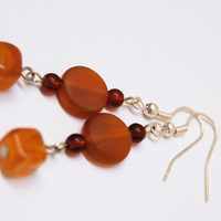 Garnet, Amber, Horn and Sterling Silver Earrings