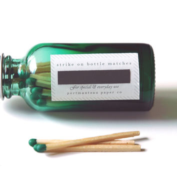 Green Bottle Matches - Ombré Glass Jar - Luxury Colored Matches - Strike on Bottle - Unique Gift - Pair with a Candle - Light a Pretty Spark