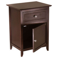 Antique Walnut Wood Finish 1-Drawer Bedroom Nightstand End Table Cabinet