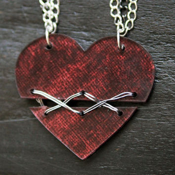 Acrylic Broken Heart Necklace - Wire stitched - SteamPunk, Rocker, Punk, Hipster, Goth, Grunge