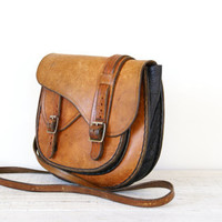 Vintage Brown Leather Purse // Bag // Satchel