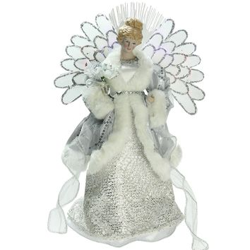 "13"" Lighted Fiber Optic Angel in Silver Gray Gown Christmas Tree Topper"