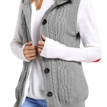 Mode Women Grey Cable Knit Hooded Sweater Vest