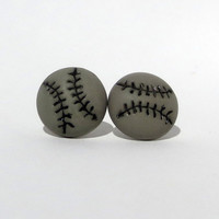Gray Baseball Stud Earrings Grey Free Shipping Softball Gray Jewelry Posts Sports Athletic