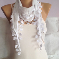 White Scarf - Floral Lace Scarf - Wedding Scarf - Bridesmaid Scarf - Summer Weddings - Elegant Scarf