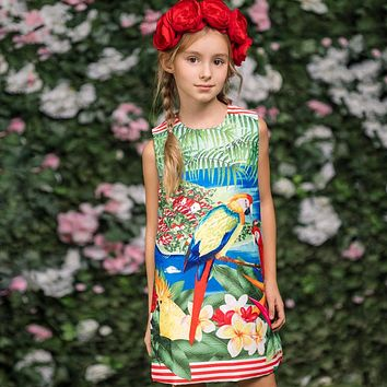 Little Girls Dresses Summer Kids Clothes Children Dress Parrot Flower Print Princess Dress Costume