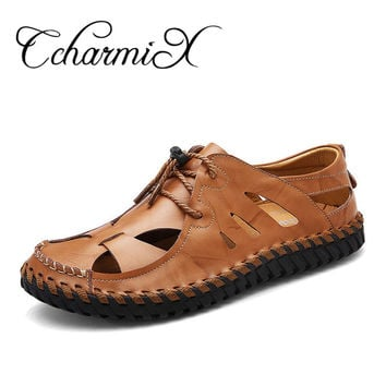 High Quality Split Leather Men Sandals Outdoor Leather Shoes Elastic Band Casual Shoes Beach Shoes