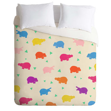Kangarui Happy Hippo Party Duvet Cover