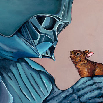 PRINT- Made from original Artwork Darth Vader with small Baby Bunny 11x17
