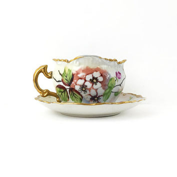 RS Prussia Antique Prussian Fine China Tea Cup and Saucer / Vintage Servingware / Floral Pattern / Great Display piece