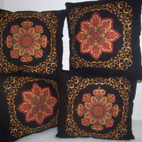 Christmas Pillows, Handmade Cushions, Holiday Decor, Black, Vibrant Red, Green, Gold, Home Decor