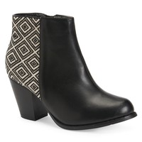 Aeropostale Womens Woven Panel Ankle Booties - Black, 6