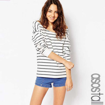 Autumn Women's Fashion Strapless Stripes Ladies Hot Sale T-shirts [6281586564]