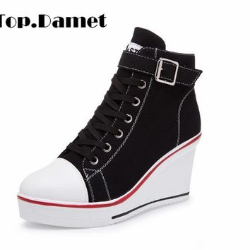 Top.Damet Women Fashion Canvas Wedges Platform Sneakers Heels Sports Shoes Lace Up Solid Color Casual Shoe Plus Size