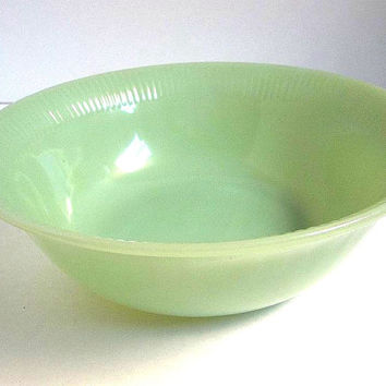 Vintage Fire King Jadeite large vegetable bowl 8.25 inches green Jane Ray pattern serving bowl Anchor Hocking