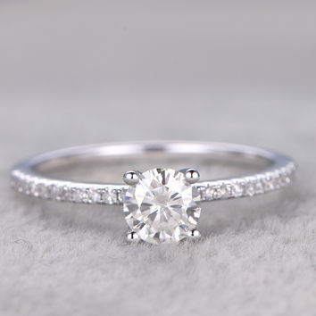 Moissanite Diamond Engagement Rings 14k/18k White Gold 5mm Stone Stacking Thin Promise Ring