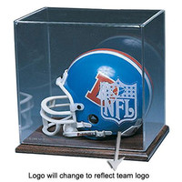 Oakland Raiders NFL Mini Helmet Display Case (Wood Finished Base)