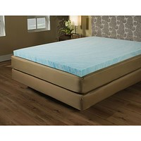 Twin size 2-inch Blue Gel Memory Foam Mattress Topper - Made in USA