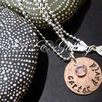 HUGE SALE D2E hand stamped personalized lucky penny necklace with Swarovski Crystal on Sterling Silver diamond cut ball chain