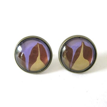 Gold, Copper, & Lavender Stud Earrings, Metal Stud Earrings, Marbled Paint, Glass Stud Earrings, Dome Glass, OOAK