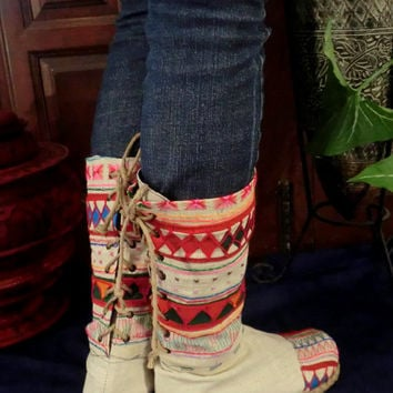 Tribal Embroidered & Appliquéd Natural Woven Cotton Back Lace Boots