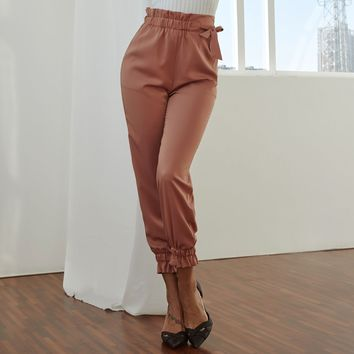 Summer Women Sweet Pleated Pants Bow Tie Sashes Pockets Female High Waist Casual Ankle Length Long Trousers Pantalones Mujer New