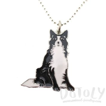 Border Collie Puppy Dog Shaped Animal Pendant Necklace | DOTOLY