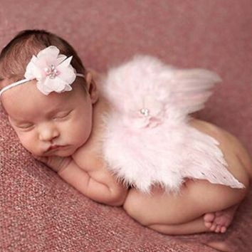 Pink Angel Wings with matching headband Baby Photo Prop - CCW202
