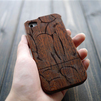 Mahogany Wood iPhone Case for iPhone 4 4s , Engraved iPhone 4 4s Case Cover , Unique Wood iPhone 4 4s Case , Gift Idea , Only One