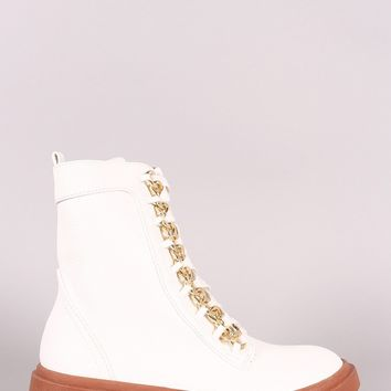 Chained Lace-Up Combat Ankle Boots