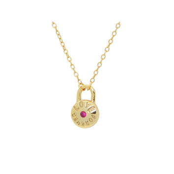 """Silver 18K Gold Plated Love Forever Pendant Necklace 16""""+ 2"""" Cz Rubi"""