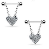 Body Accentz™ Nipple Ring Bars Heart Body Jewelry Pair 14 gauge Sold as pair