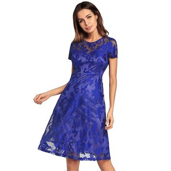 Olddnew 2018 New Lace Dress Women's Short Sleeves Vintage Dress Spring Summer Lace Dress Cocktail Formal Swing Dress