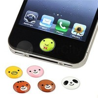 6 Pieces Animal Cute Home Button Sticker For Apple iPhone 5 5G 4S 3GS 3G 4th 4G