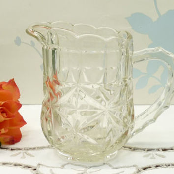 Small Glass Jug, Creamer, Pitcher or Ewer, Pressed Glass, Depression Glass, posy or flower arrangement, arranging, display, homewares, 0156