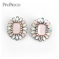 PrePiece Geometric Big Flower Opal Stones Stud Earrings 2016 New Design Fashion Party Bohemian Jewelry for Women Brincos PE0218