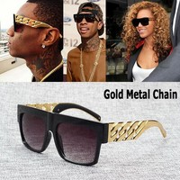 Celebrity Inspired Gold Metal Chain Kim Kardashian Beyonce Sunglasses Vintage Hip Hop Sun Glasses Oculos De Sol