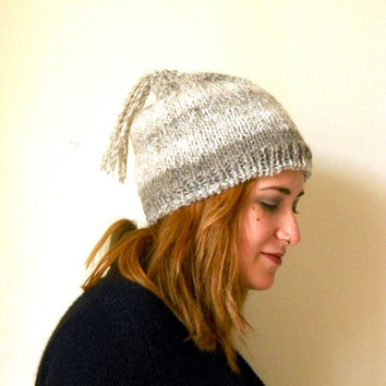 slouchy knit beanie, oatmeal knit hat, beret with tassel