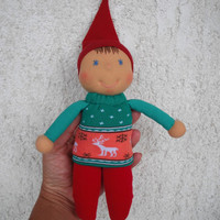 Christmas Elf Doll in Waldorf style, Christmas decorations, Christmas gifts for kids, Handmade christmas gift for babies and toddlers