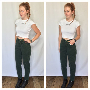 80s GIRBAUD Jeans Skinny Tight Ankle Jeans Marithe Francois Girbaud Tapered Tight Hunter Green High Waist eans XS-S Vintage
