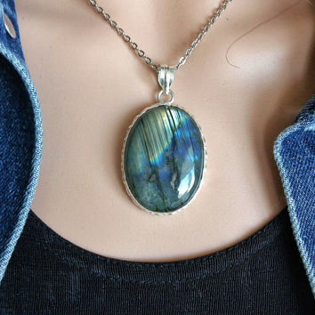 LABRADORITE PENDANT JEWELRY Labradorite Pendant Jewelry Necklace Gemstone Silver 925 Iridescent Labradorite Genuine Gemstone Pendant Jewelry
