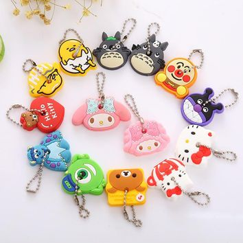 ZOEBER 2PCS set Cartoon Cute Key Cover Anime bear Hello Kitty Totoro Silicone Key Chains melody Animal car Key rings Keychain