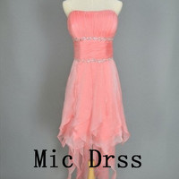 High Quality Strapless knee-length pink organza draped sashes sequins Prom/Evening/Party/Homecoming/cocktail /Bridesmaid/Formal Dress