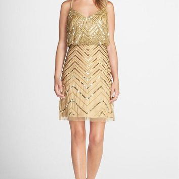 Adrianna Papell - Sequined Chevron Dress 41913670