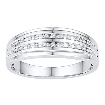 10kt White Gold Men's Round Channel-set Diamond Double Row Wedding Band Ring 1/10 Cttw - FREE Shipping (US/CAN)