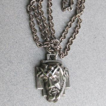 1970's Modern Vintage Sterling Silver Head of Christ Signed CREED Medal Religious Catholic Necklace