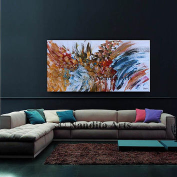 """Abstract Painting 48"""" Large Oil Painting Wall Art on Canvas, Blue Red Teal Colorful large Artwork office decor by Nandita Albright"""
