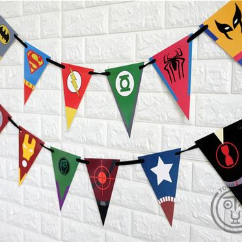 Superhero Avengers Banner Ironman Batman Superman Baby Shower Birthday Party Decorations Kids Event Party Supplies AW-0745