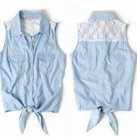 Lace Sleeveless Shirt Vest