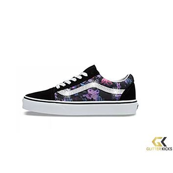 Vans Warped Floral Old Skool + Crystals - Black/True White